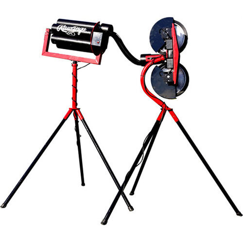 Front of Rawlings Red and Black Spin Ball Pro 2 Wheel Baseball Automatic Ball Feeder With Brand Name and Two Tripod Set-Ups SKU #RAF2BB