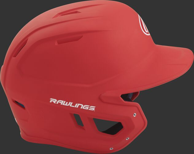 Right side of a matte scarlet MACH helmet