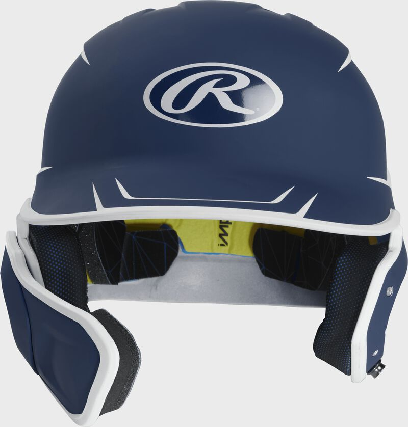 Front of a matte navy/white MACHEXTR junior size Mach batting helmet with face guard extension for left hand batters