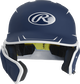 Front of a matte navy/white MACHEXTR junior size Mach batting helmet with face guard extension for left hand batters image number null