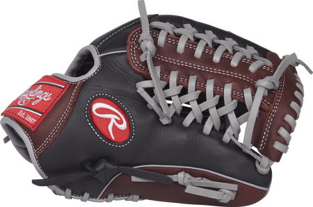 Thumb view of a black/sherry R9205-4BSG R9 series 11.75-inch infield/pitcher's glove with a sherry Modified Trap-Eze web