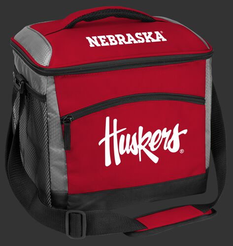 A red Nebraska Cornhuskers 24 can soft sided cooler with screen printed team logos - SKU: 10223089111