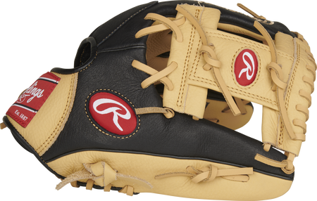 P115CBI 11.5-Inch Prodigy infield glove with a black/camel thumb and camel I-web