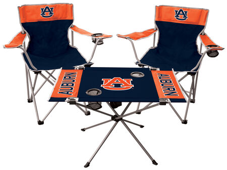A NCAA Auburn Tigers 3-piece tailgate kit with two chairs and an endzone table