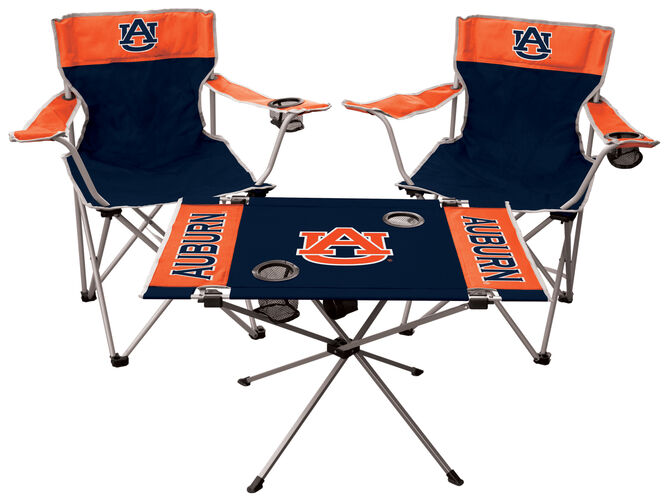 Front of Rawlings Navy and Orange NCAA Auburn Tigers 3-Piece Tailgate Kit With Two Kickoff Chairs, An Endzone Table, And A Transport Bag With Team Logo SKU #00993003511