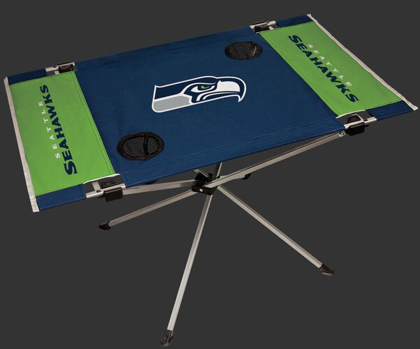 Rawlings Blue and Green NFL Seattle Seahawks Endzone Table With Two Cup Holders, Team Logo, and Team Name SKU #03391085111