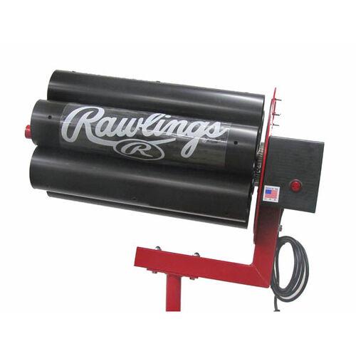 Feeder Machine Side View of Rawlings Black Spin Ball Pro 2 Wheel Baseball Automatic Ball Feeder With Brand Name SKU #RAF2BB