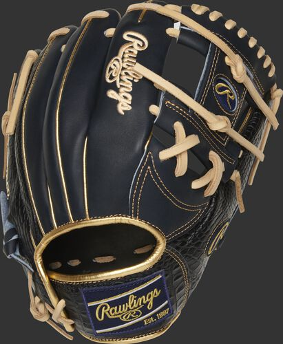 Back of a navy Heart of the Hide 11.5-Inch I-web glove with croc-embossed leather trim - SKU: PRONP4-2NCC