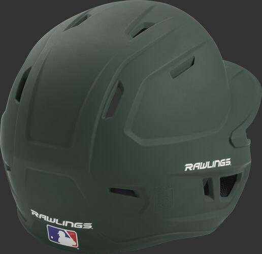 Back right of a one-tone matte dark green MACH Rawlings senior size batting helmet