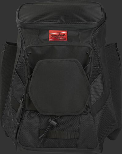 Front of a black R600 Players team backpack