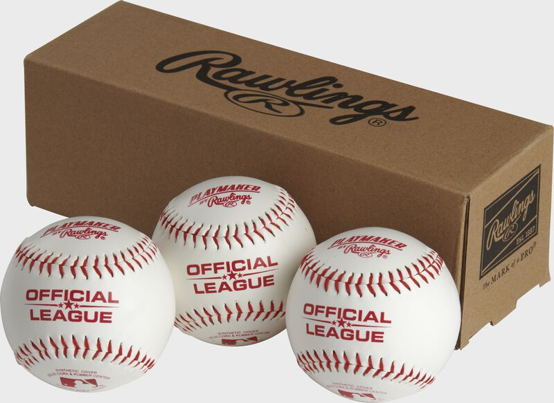 3 Rawlings Playmaker baseballs in front of a box - SKU: PMBBPK3