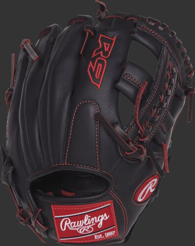 R9YPT1-19B 11-inch R9 Series youth infield glove with a black back and designed with a youth pro taper fit