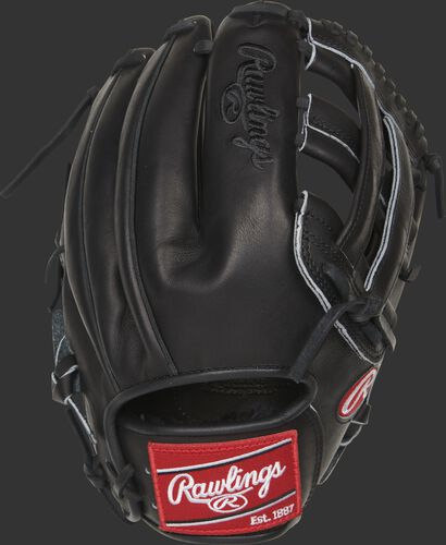 Black back of a Heart of the Hide H-web glove with a red Rawlings patch - SKU: PRO10006JBPRO