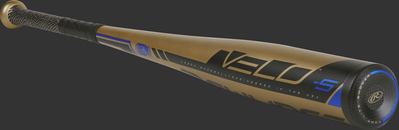 3/4 angle view of a UT9V5 USSSA Velo bat with a black end cap