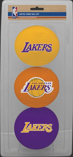 Rawlings Yellow, Brown, and Purple NBA Los Angeles Lakers Three-Point Softee Basketball Set With Team Logo SKU #03524220114