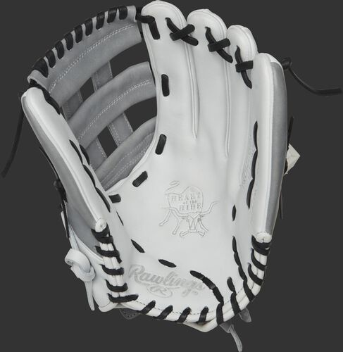 PRO1275SB-6WG Rawlings 12.75-inch softball outfield glove with a white palm and black laces