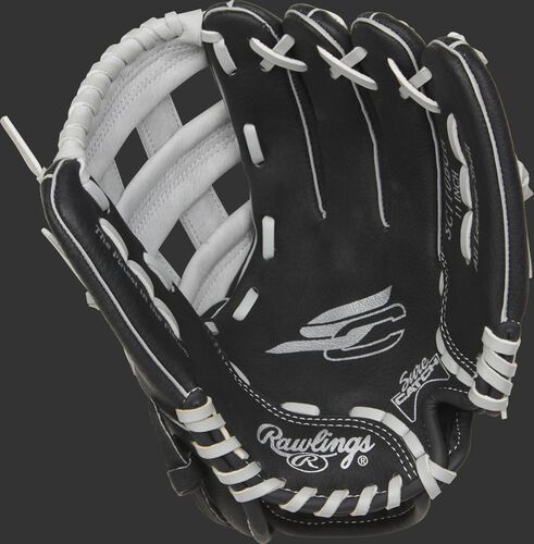 SC110BGH Rawlings Sure Catch glove with a black palm and grey laces