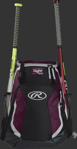 A black/maroon R500 Rawlings equipment backpack with a bat on each side