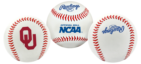 3 views of a NCAA Oklahoma Sooners baseball with a team logo, NCAA logo and Rawlings logo