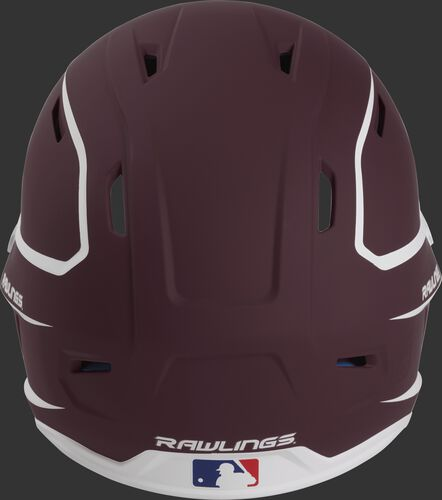 Back of a maroon/white MACH high performance Junior helmet with the Official Batting Helmet of MLB logo