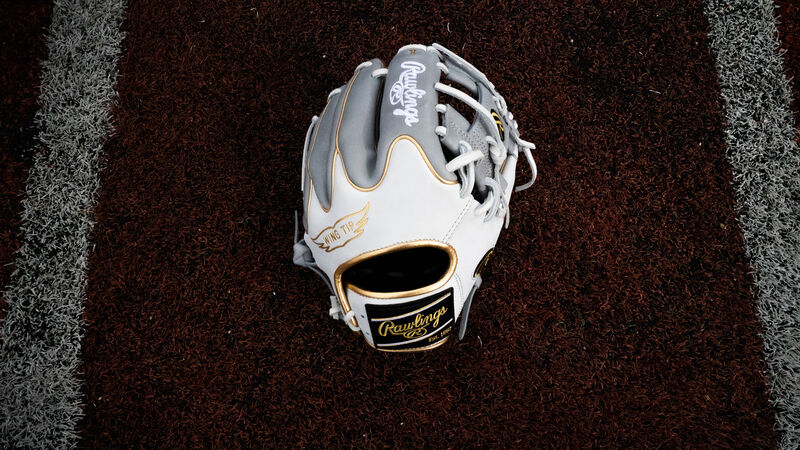 A white/grey Rawlings exclusive Heart of the Hide Wing Tip glove laying in the batters box on a field - SKU: PRO204W-2GW