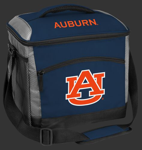 A navy Auburn Tigers 24 can soft sided cooler with screen printed team logos - SKU: 10223003111