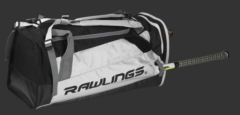 Side angle view of a white R601 Rawlings Hybrid backpack/duffel bag with a bat in the side compartment