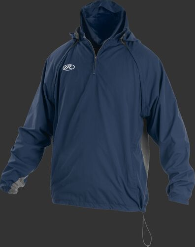 Front of Rawlings Navy Adult Long/Short Sleeve Jacket - SKU #TRITHR-DG-91