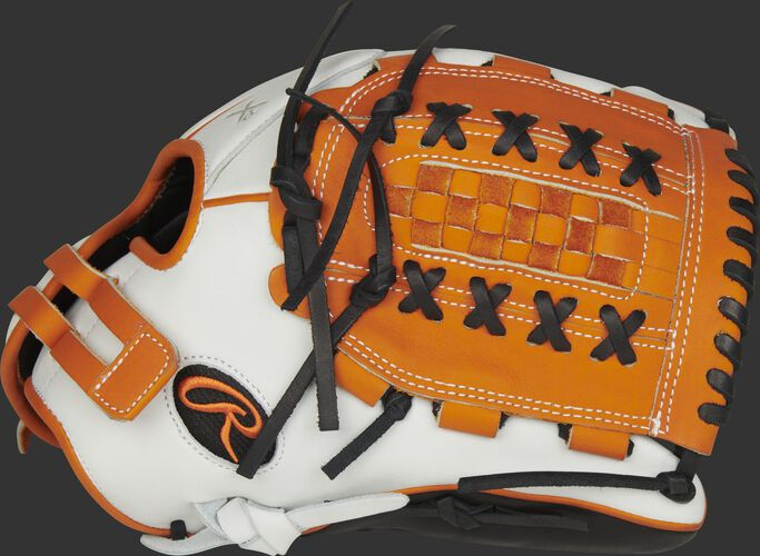Thumb of a white RLA125-18OB Liberty Advanced Color Series 12.5-inch fastpitch glove with an orange Double Laced Basket web
