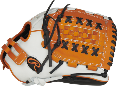 Thumb of a white RLA125-18OB Liberty Advanced Color Series 12.5-inch fastpitch glove with black trim and orange Basket web