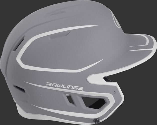 Right side of a two-tone matte silver/white MACH helmet