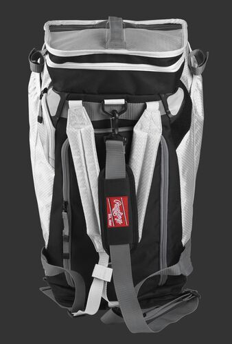 Front of a white R601 Rawlings Hybrid backpack/duffel bag with a gray strap and white arm straps