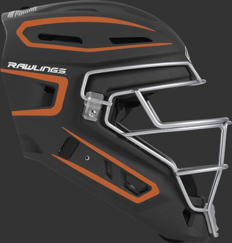 Right side of a black/orange CHV27J Velo 2.0 youth size catcher's helmet