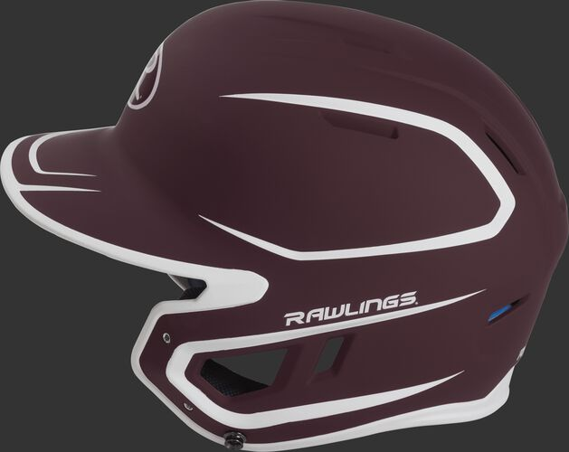 MACH Junior Rawlings batting helmet with a two-tone matte maroon/white shell