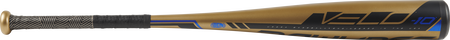 Barrel view of a UT9V10 2019 Velo USSSA baseball bat with a bold barrel and gold/black grip