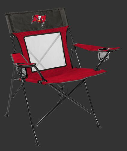 Front of Rawlings Grey and Red NFL Tampa Bay Buccaneers Game Changer Chair With Team Logo SKU #00651086111