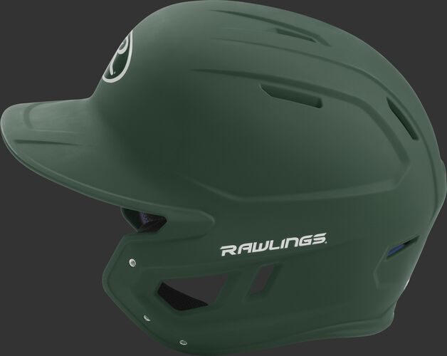 MACH junior Rawlings batting helmet with a one-tone matte dark green shell