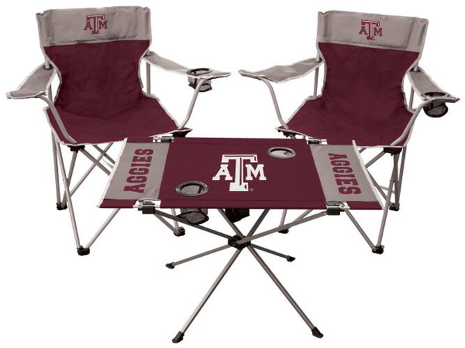 Front of Rawlings Maroon and Grey NCAA Texas A&M Aggies 3-Piece Tailgate Kit With Two Kickoff Chairs, An Endzone Table, And A Transport Bag With Team Logo SKU #00993061511