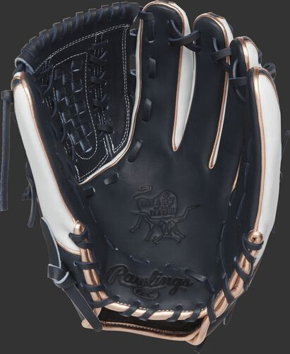 PRO716SB-18NW Rawlings 12-inch infield/pitcher's softball glove with a navy palm and navy laces