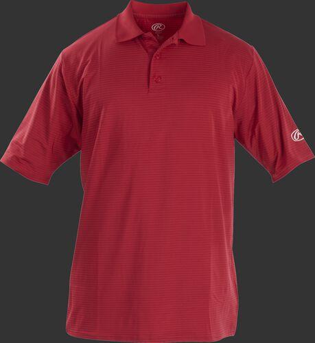 Front of Rawlings Adult Scarlet Short Sleeve Polo Shirt - SKU #GGPOLO