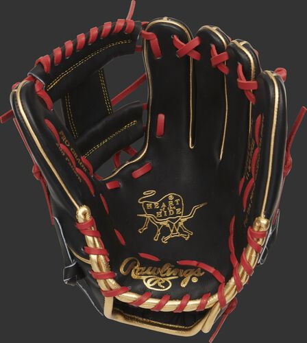 Black palm of a Rawlings HOH infield glove with a black web, scarlet laces and gold stamping - SKU: PRO205W-2BG
