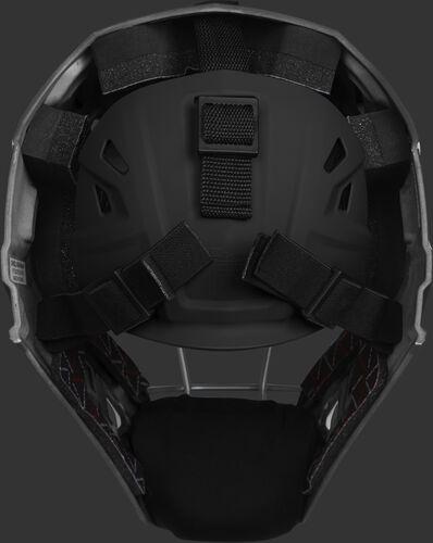 Adjustable back plate of a black/scarlet CHV27J Velo 2.0 hockey style catcher's mask