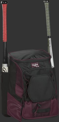 Front right of a maroon/black R600 Rawlings players bag with two bats and Oval R printed on the bottom panel