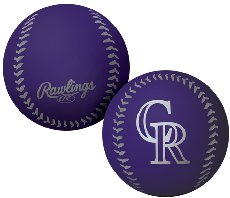 A purple Colorado Rockies Big Fly rubber bounce ball