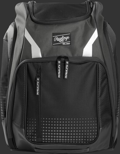 A gray Legion backpack with a black Rawlings patch on the front - SKU: LEGION-GR