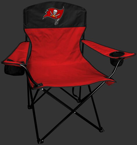 Front of Rawlings Red and Black NFL Tampa Bay Buccaneers Lineman Chair With Team Logo SKU #31021086111