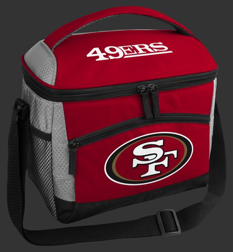 A red San Francisco 49ers 12 can soft sided cooler with a team logo on the front - SKU: 10111084111