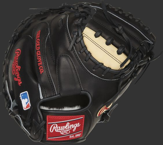 Black back of a Pro Preferred J.T. Realmuto catcher's mitt with a red Rawlings patch - SKU: PROSCM43JR10