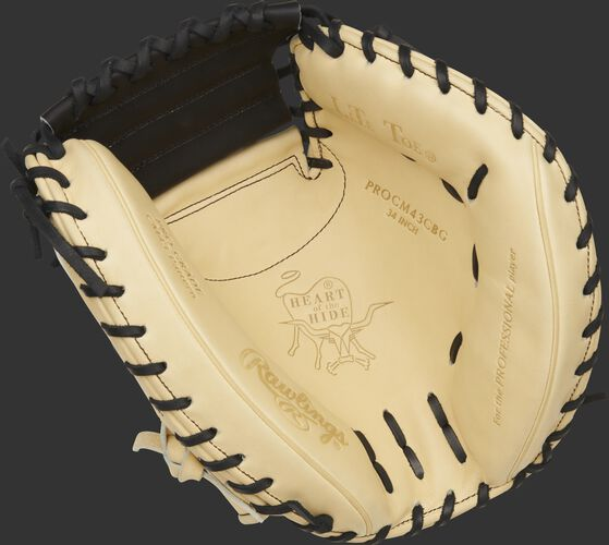 Camel palm of a Rawlings HOH ColorSync 5.0 catcher's mitt with a black web and black laces - SKU: PROCM43CBG