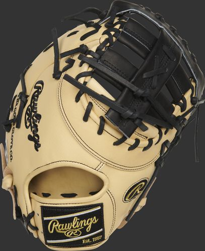 Camel Speed Shell back of a 13-Inch HOH ColorSync 5.0 1st base mitt with a black Rawlings patch - SKU: PRODCTCBGSS
